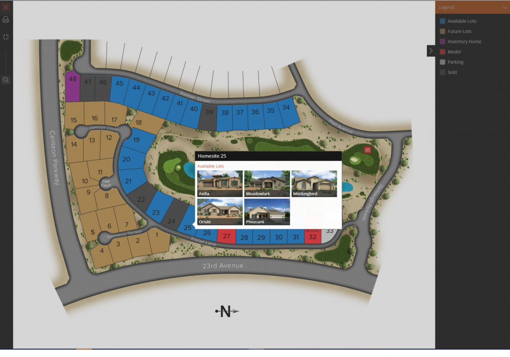 Interactive Site Map.  Click on lot to view available home plans, elevations and Interactive Floor Plans