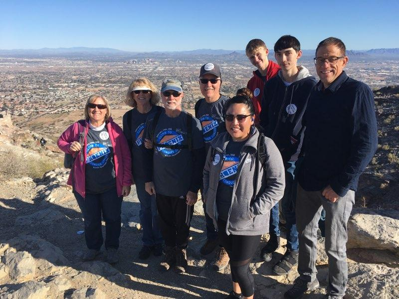 """My """"Little"""", who is no as tall as me, and I on top of South Mountain at cancer hike in 2018."""