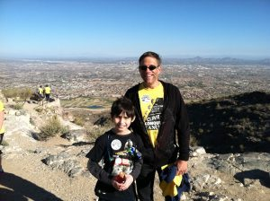 "My ""Little"" and I on top of South Mountain at cancer hike in 2014"