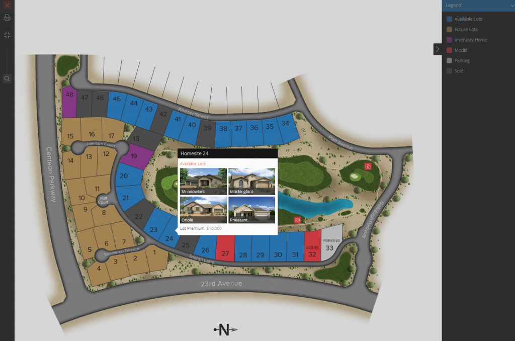 Colored Interactive Site Plan with pop up showing home renderings