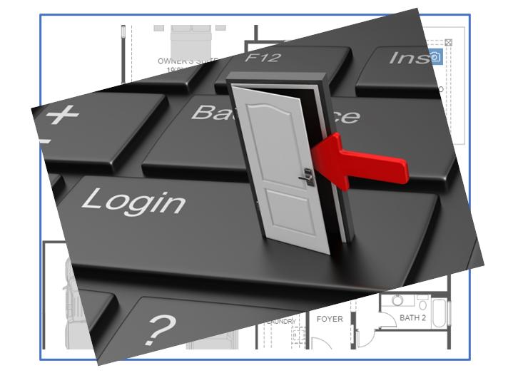 Door set on computer keyboard, opening, with Interactive Floor Plan in background