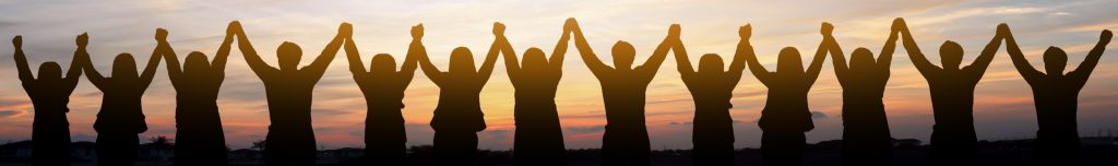 Silhouette of group happy business team making high hands over head in beautiful sunset sky evening time for business success and teamwork concept in company